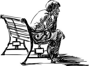 waiting-vector-sketch-young-man-sitting-bench-30685045